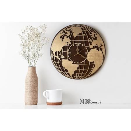 """Интерьерные настенные часы """"Карта мира"""""""