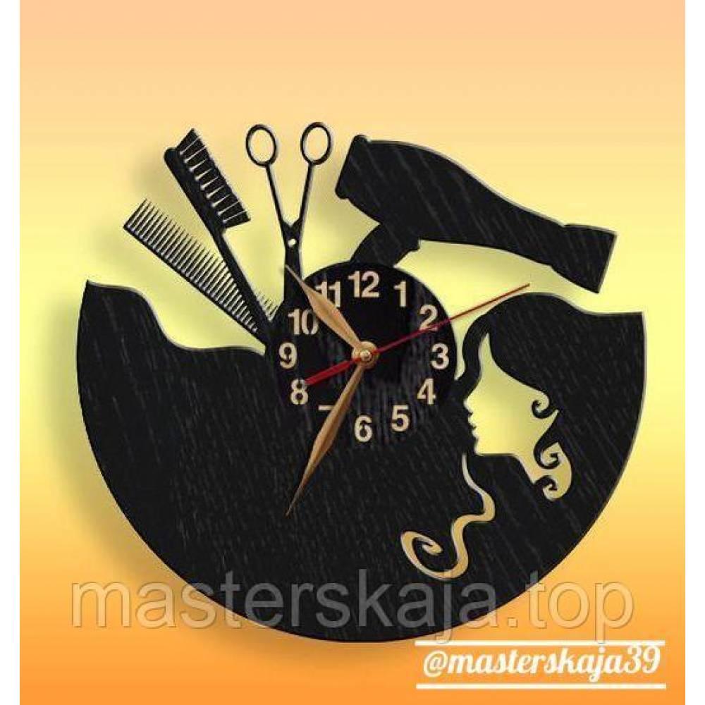 Интерьерные настенные часы (настінні годинники) парикмакерские с девушкой