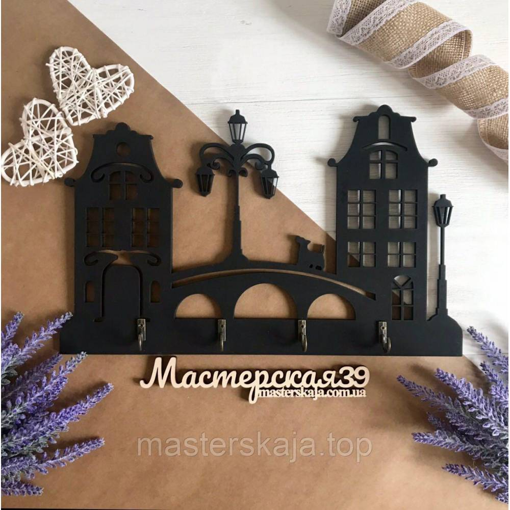 Ключница для ключей из дерева настенная для дома  «Домики»