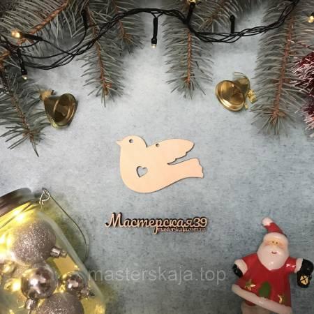Новогодняя игрушка из дерева птичка HP-20088