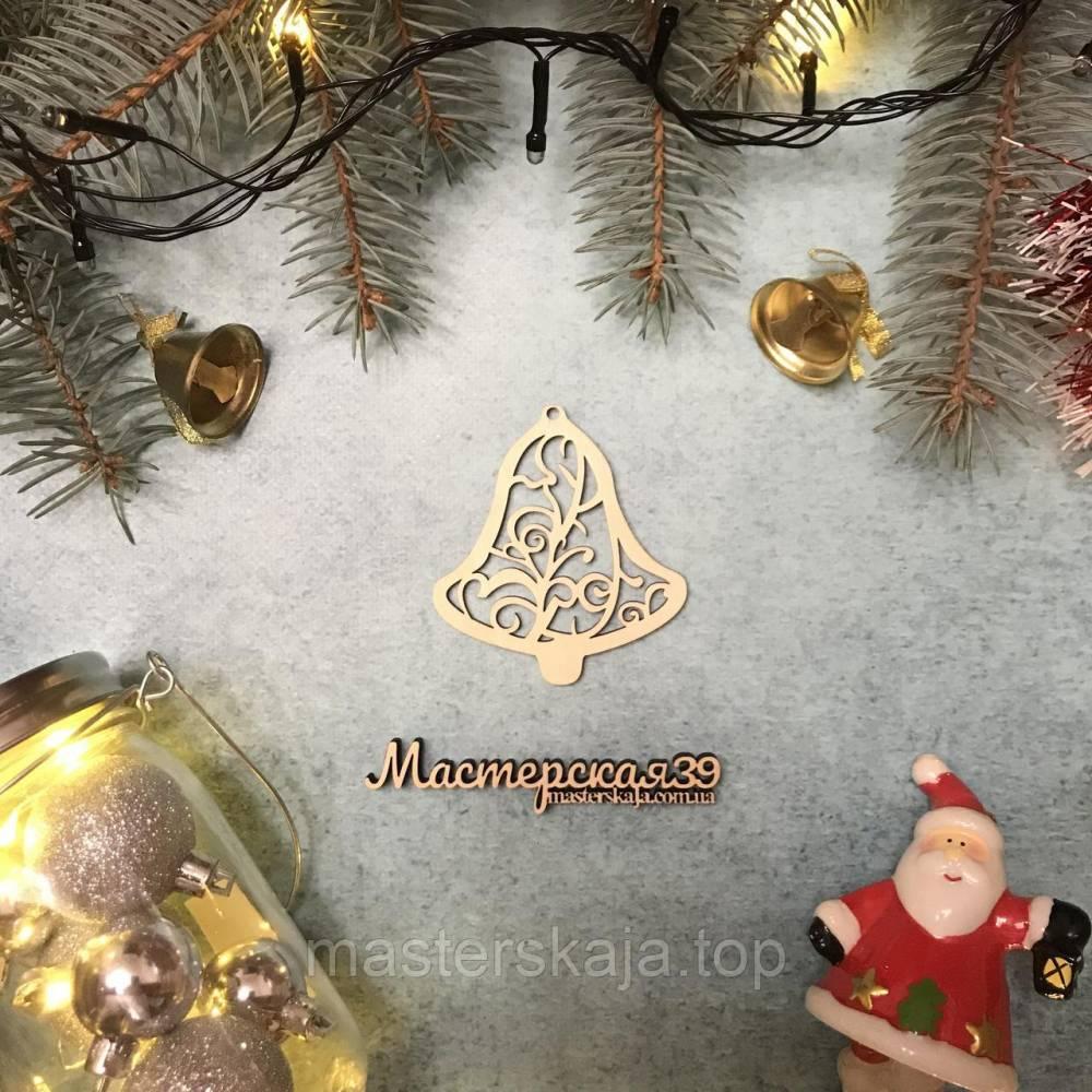 Новогодняя игрушка из дерева колокольчик ажурный HP-20095