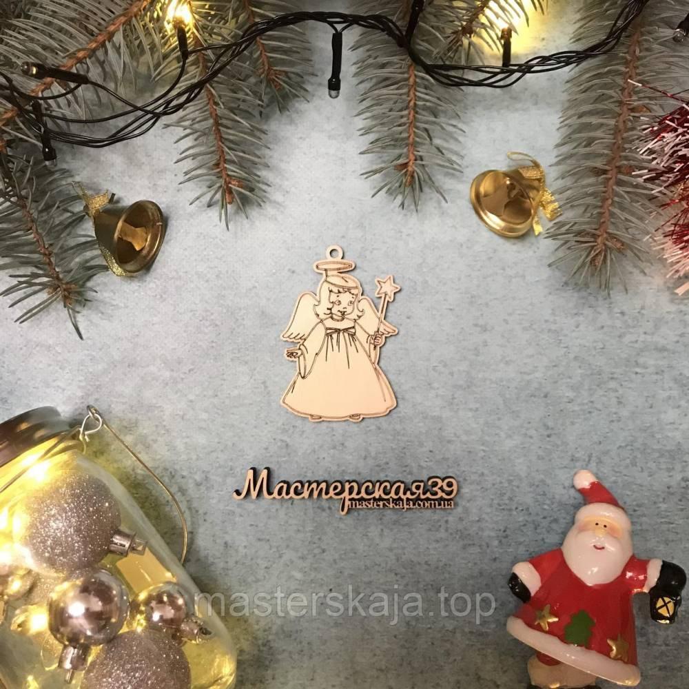 Новогодняя игрушка из дерева ангелочек HP-20114