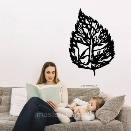 Деревянное декоративное панно в виде дерева в листике