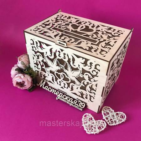 Коробка для денег свадебная «Голуби» дерево
